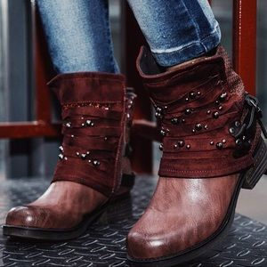 Red Wine Motorcycle Ankle Combat Boots-Studded